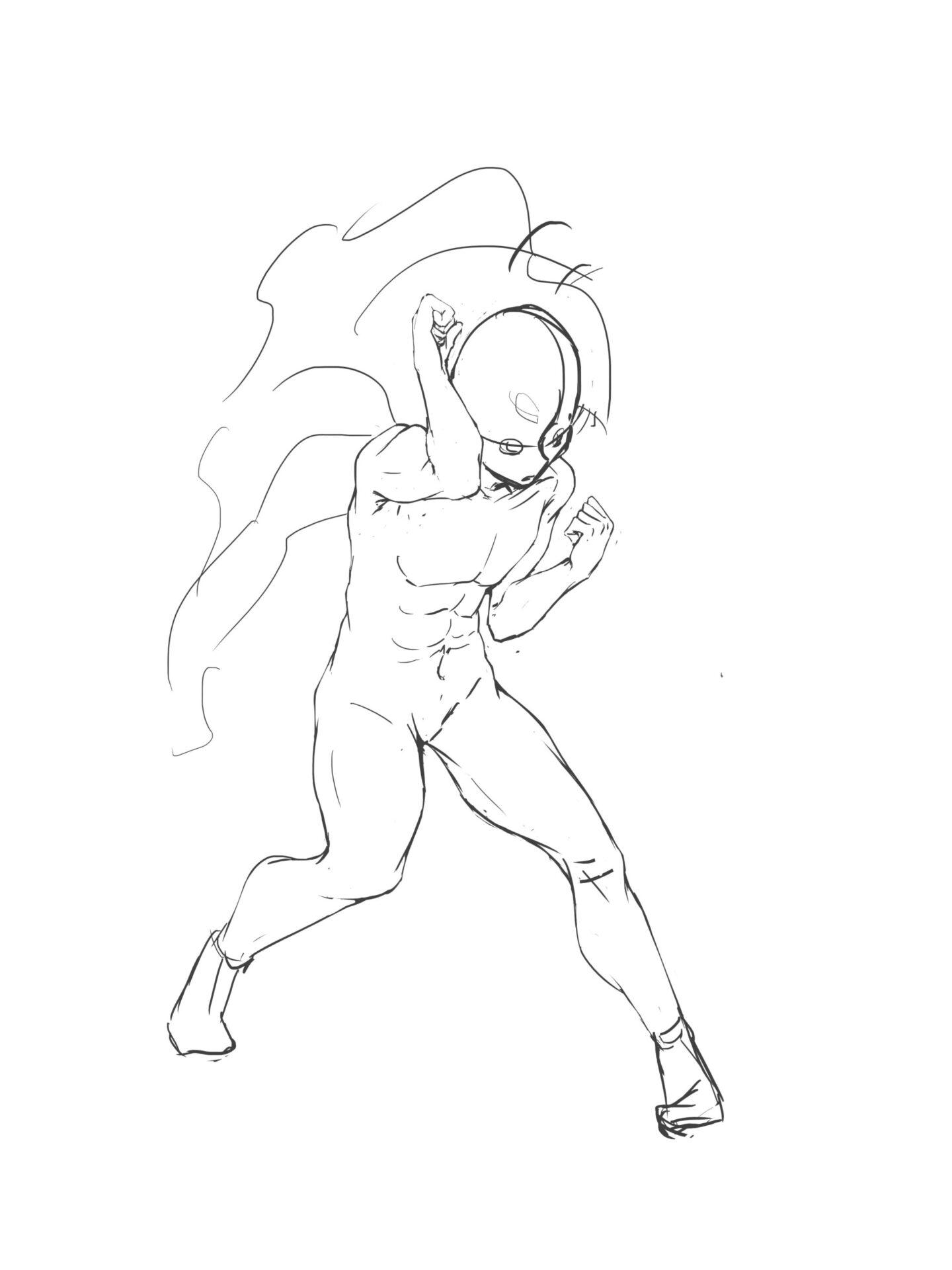 男素体ファイティングポーズ画像