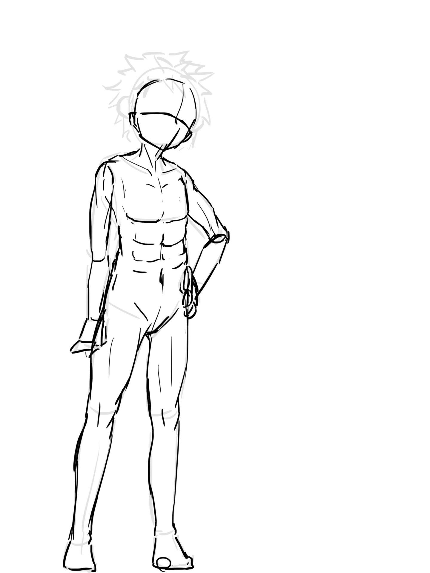 男性素体立ち絵ラフ画像