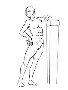 男素体腕置きポーズ画像