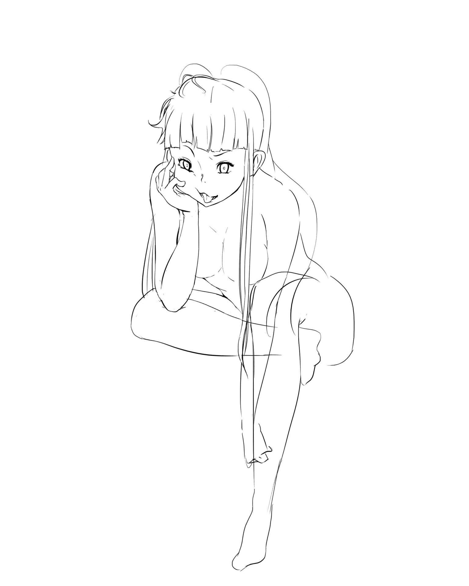 女素体肘つき座りポーズ画像